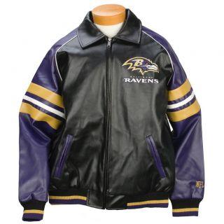 G3 Mens Baltimore Ravens Pleather Varsity Jacket