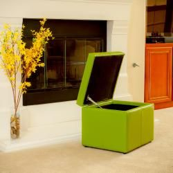 Square Lime Green Cube Storage Ottoman