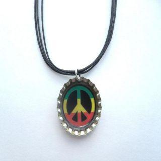 Bow Clippeez 2 Envy Peace Sign Bottle Cap Necklace