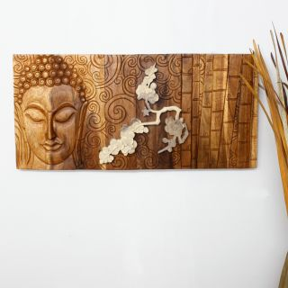 Golden Oak Oil Rubbed Wood Silent Buddha in Bamboo Flower Carved