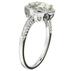 14k Gold Green Amethyst and 1/5ct TDW Diamond Ring
