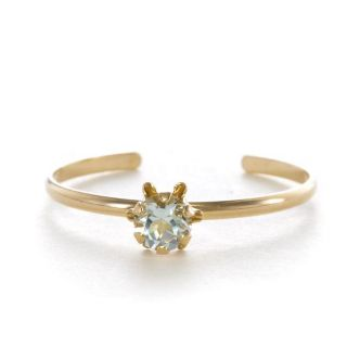 14k Yellow Gold Aquamarine Birthstone Ring