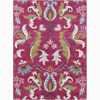 Bajrang Hand tufted Pink Floral Wool Rug (7 x 10)