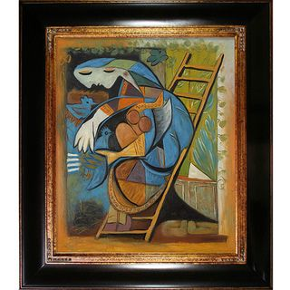 Picasso Paintings Farmers Wife on a Stepladder w/ Opulent Dark Stained