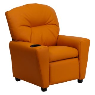 Flash Furniture Contemporary Orange Vinyl Kids Recliner with Cup
