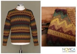 Alpaca Wool Mens Mountaineer Crewneck Sweater (Peru)