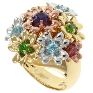 Michael Valitutti Kristen Gold over Silver Multi Gemstone Flower