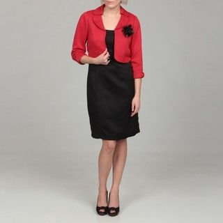 Sandra Darren Womens Red/ Black 2 piece Dress