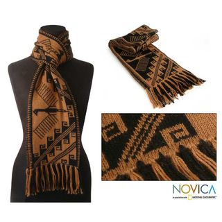 Night Condor Reversible Alpaca Wool Scarf (Peru)
