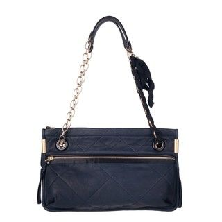 Lanvin Navy Blue Lambskin Leather Shoulder Bag