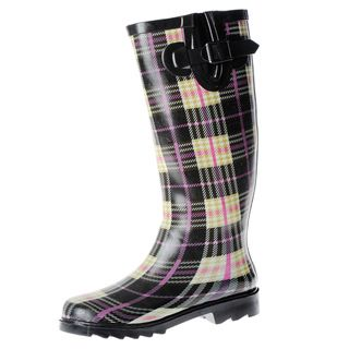 Henry Ferrera Womens Plaid Printed Mid calf Rubber Rain Boots
