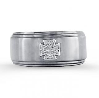 Sterling Silver Mens Diamond Accent Cross Wedding Band