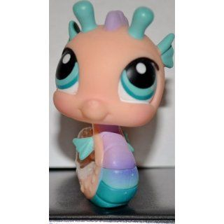 Seahorse #142 (Pink, Blue Eyes, Blue Fins) Littlest Pet Shop (Retired