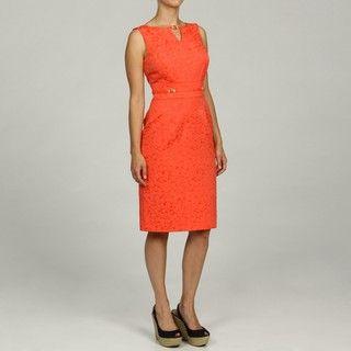Tahari ASL Womens Jacquard Keyhole Embellished Dress