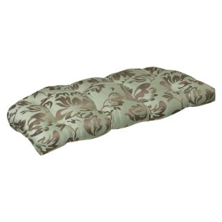 Pillow Perfect Outdoor Brown/ Green Floral Wicker Loveseat Cushion