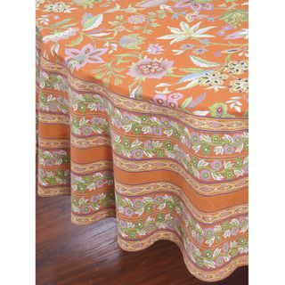 Kerala Orange Floral 84 inch Round Table Cloth (India)