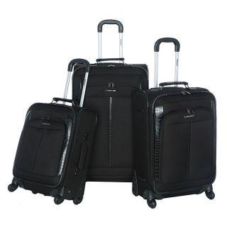 Olympia Corea 3 piece Black Expandable Spinner Luggage Set
