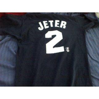 Medium (M) Blue New York Yankees #2 Derek Jeter T Shirt White Letter