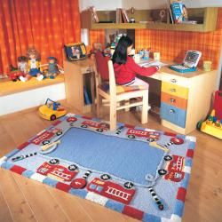 Hand carved Alexa Kids Fire Trucks & Lights Blue Wool Rug (36 x 56