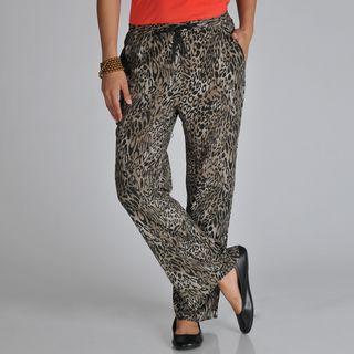 Pink Collection Womens Black/ Brown Cheetah Palazzo Pants