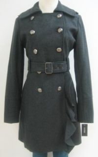 Guess Belted Military Wool Coat, Jacket, Charcoal, Large