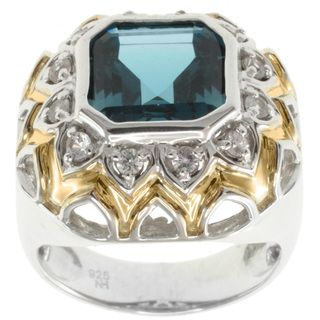 Michael Valitutti Jason Dow Two tone London Blue Topaz Ring