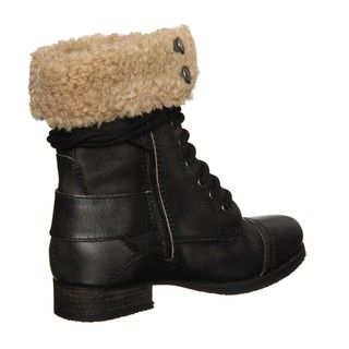 Diba Womens Miss You Black Aviator Boots