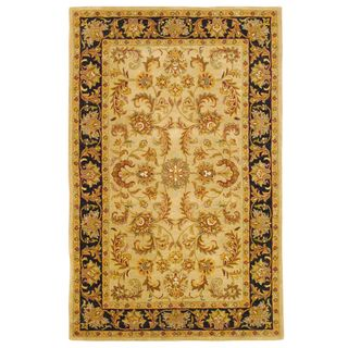 Indo Hand tufted Mahal Gold Wool Rug (5 x 8)