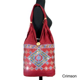 Handmade Bucket Style Shoulder Bag with Bead Accent (India
