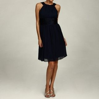 London Times Womens Navy Chiffon Dress