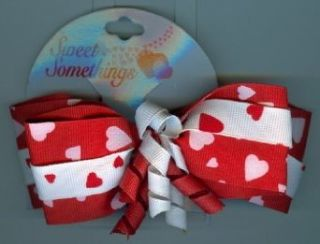 Valentines Gifts  PPVAL144AA Red White Ribbon Bow Hair