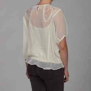 Romeo & Juliet Womens Ivory Lace Chiffon Top