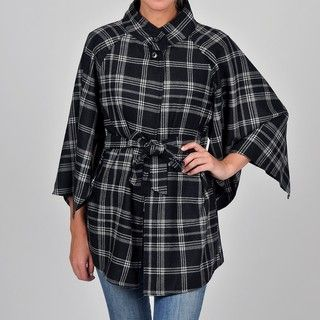 Allyson Cara Womens Plus Size Plaid Cape