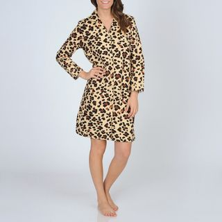 La Cera Womens Cheetah Print Cotton Flannel Night Shirt