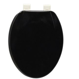 Elongated Black Molded Wood Solid Toilet Seat