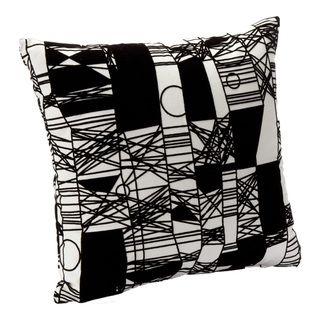 Abstact Scratch Black/ White Decorative Accent Pillow