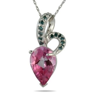10k White Gold Pink Topaz and 1/5ct TDW Blue Diamond Necklace