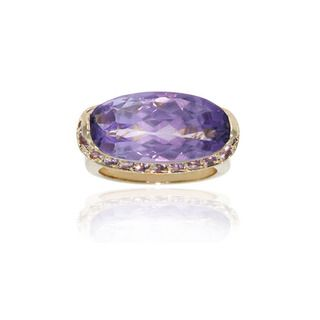 Glitzy Rocks 18k Gold over Sterling Silver Amethyst Ring