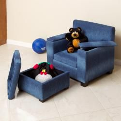 Blue Denim Fabric Kids Club Chair and Ottoman Set