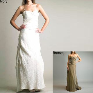 Issue New York Womens Crinkled Long Train Gown