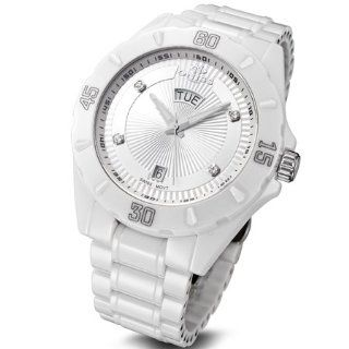 Oniss #ON8013 M Mens White Ceramic Diamond Index Sports Watch with