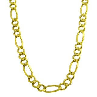 14k Yellow Gold Mens Solid 18 inch Figaro Link Necklace