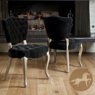 Christopher Knight Home Bates Tufted Black Fabric Dining Chairs (Set
