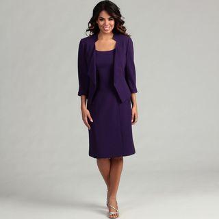 Tahari Womens Crepe Jacket Dress