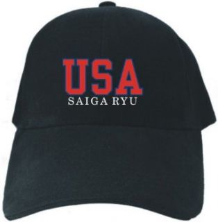 Caps Black  Usa Saiga Ryu Athletic Embroidery  Martial