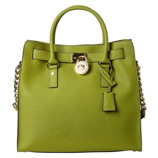 MICHAEL Michael Kors Large Hamilton Lime Saffiano Leather Tote