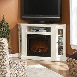 Belvedere Ivory Media Console Fireplace