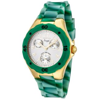 Invicta Womens Angel White Dial Multi Green Rubber Watch