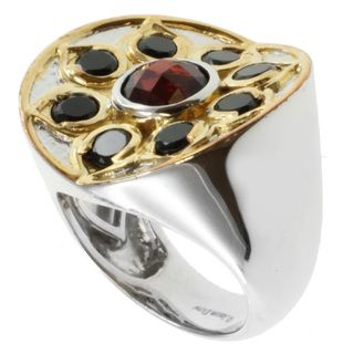 Michael Valitutti Jason Dow Two tone Garnet and Black Spinel Ring