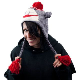 Adult Size Gray Sock Monkey Knit Hat with Poly Fleece Lining